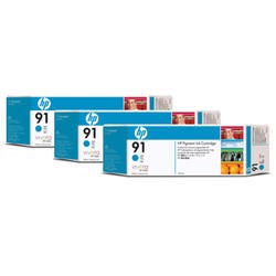 KAZETA HP C9483A  91 Cyan 3-pack - 3 ink cartridges 775 ml each