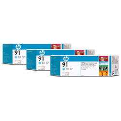 KAZETA HP C9486A  91 Light Cyan 3-pack - 3 ink cartridges 775 ml each