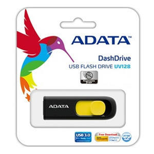 USB kľúč Adata USB Memory DashDrive UV128 32GB USB 3.0 Black+Yellow
