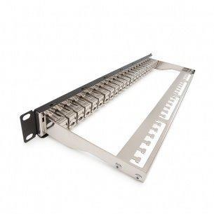 Patch panel, Category 6A, 24xRJ45/s, čierny, osadený s KEJ-C6A-S-HD, KELINE